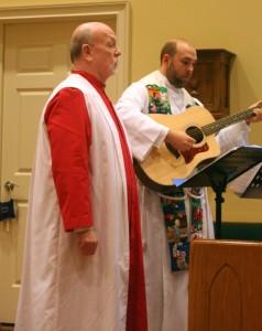 Sam & Fr. Jeff collaborate on Sweet Little Jesus Boy on Christmas Eve.