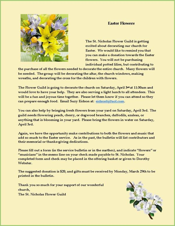 Come help the Flower Guild decorate the church for Easter on April 3rd