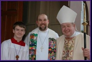 Bishop Whitmore's last visit was for Fr. Jeff's Celebration of New Ministry in 2008. Here they are with Sean Moody.