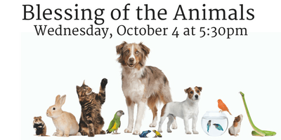 Blessing of the Animals Wednesday, October 4 at 5:30pm